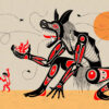 Good and evil beast orange black and red colours