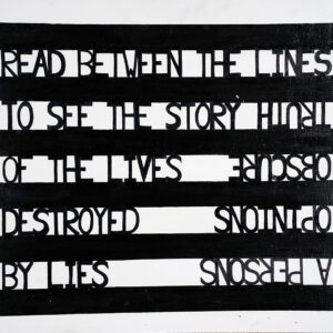 black and white striped prisoners art original print
