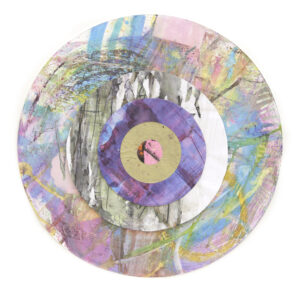 collage of abstract circles pink blue and purple