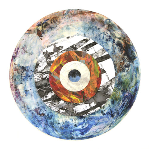 circles collage of recycled art blue and white