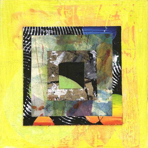 abstract yellow collage of art limited edition original prisoners art uk 2020