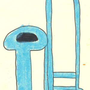 blue trombone kids drawing
