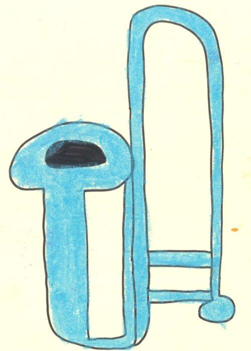 blue trombone kids drawing