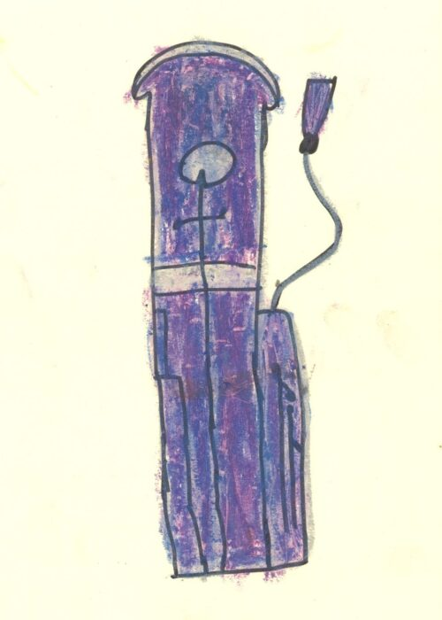 purple basson kids coloured drawing