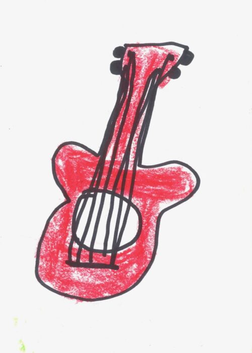 red guitar kids coloured drawing