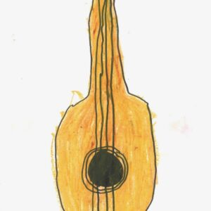 yellow guitar kids drawing print